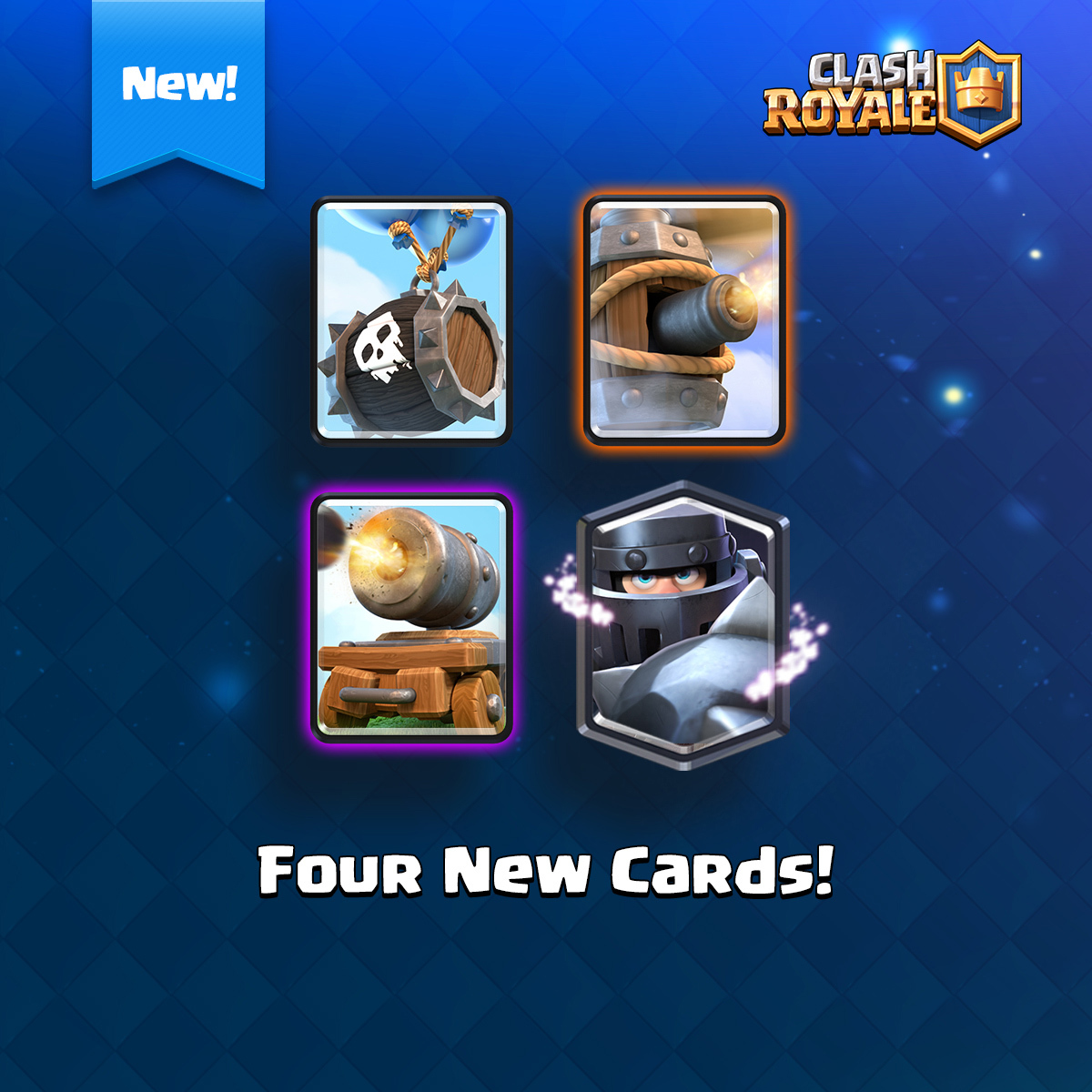 clash royale, nouvelles cartes, légendaire, mega chevalier, canon, fût à squelettes, machine volante