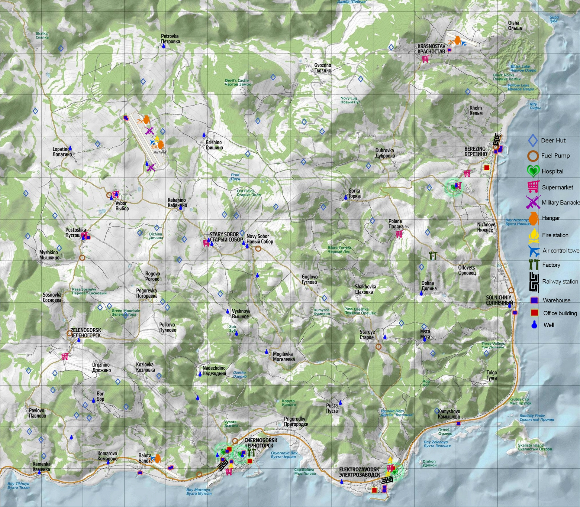 DayZ : carte, map, taille - Millenium Day Z Map on
