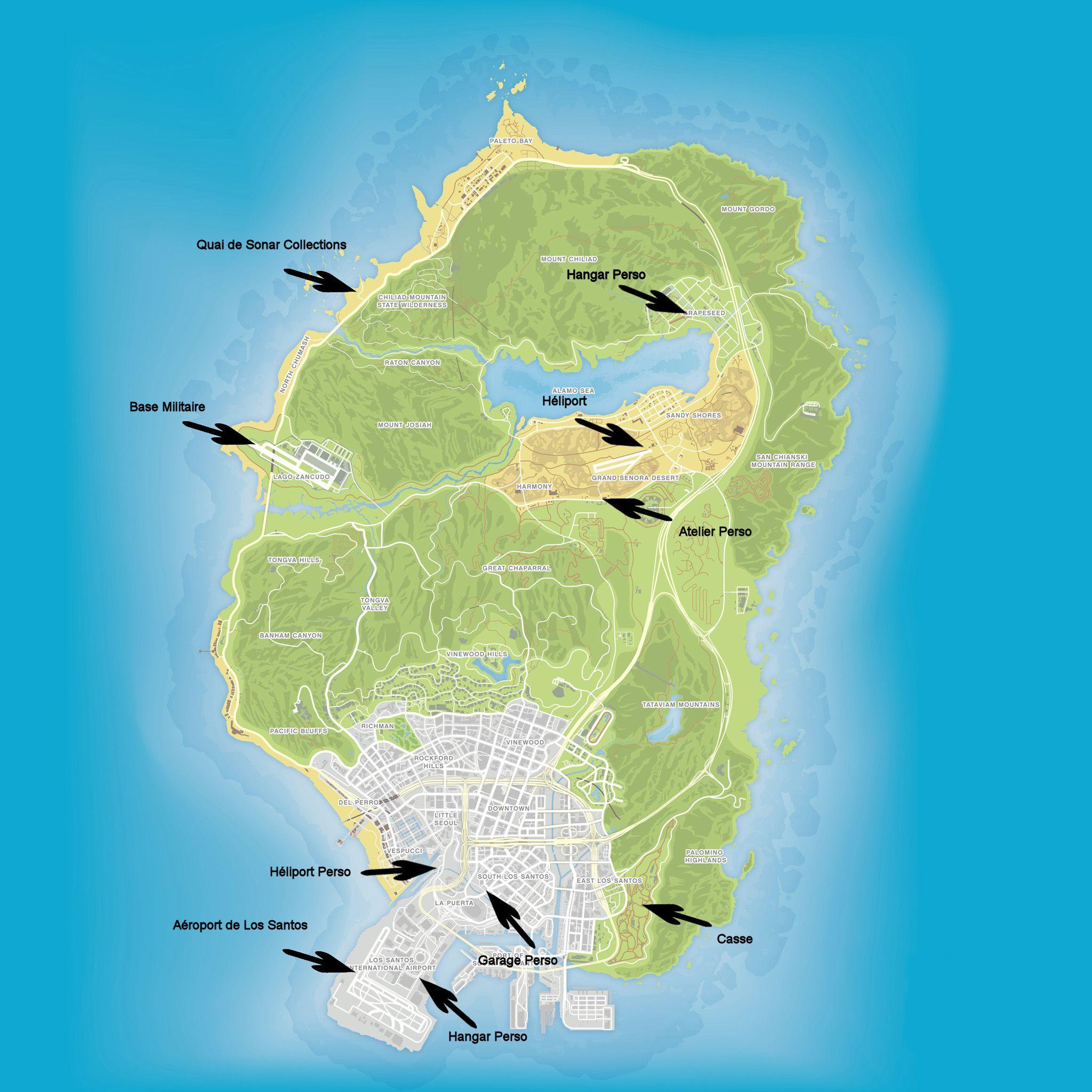 Secret Places Gta 5 Ps4: Carte De Gta 5 Avec Tout Les Secret