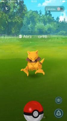 capture d'un abra dans Pokémon GO