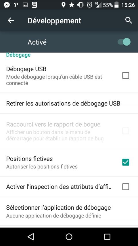 Les positions fictives dans le menu développeur sur Android