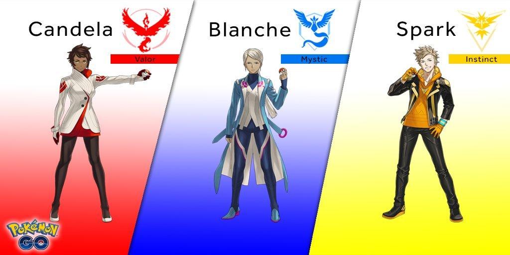 Leaders des teams de Pokémon GO