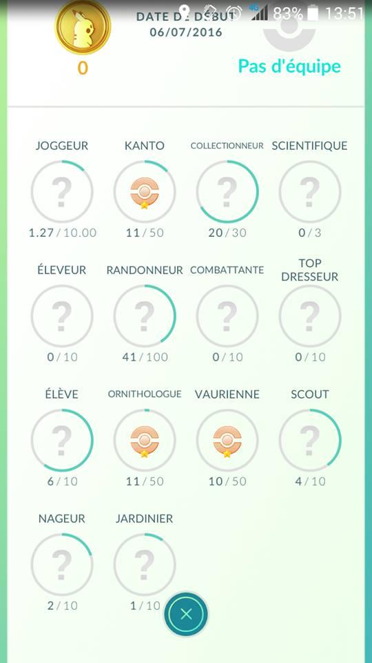 liste des succès dans Pokémon GO