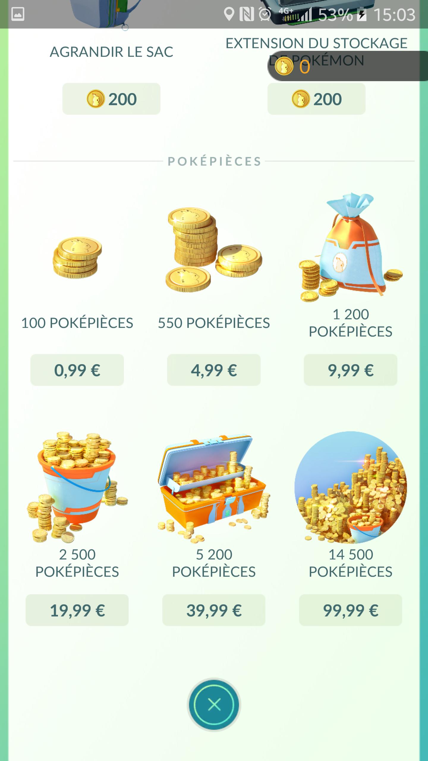 la boutique de pokémon GO