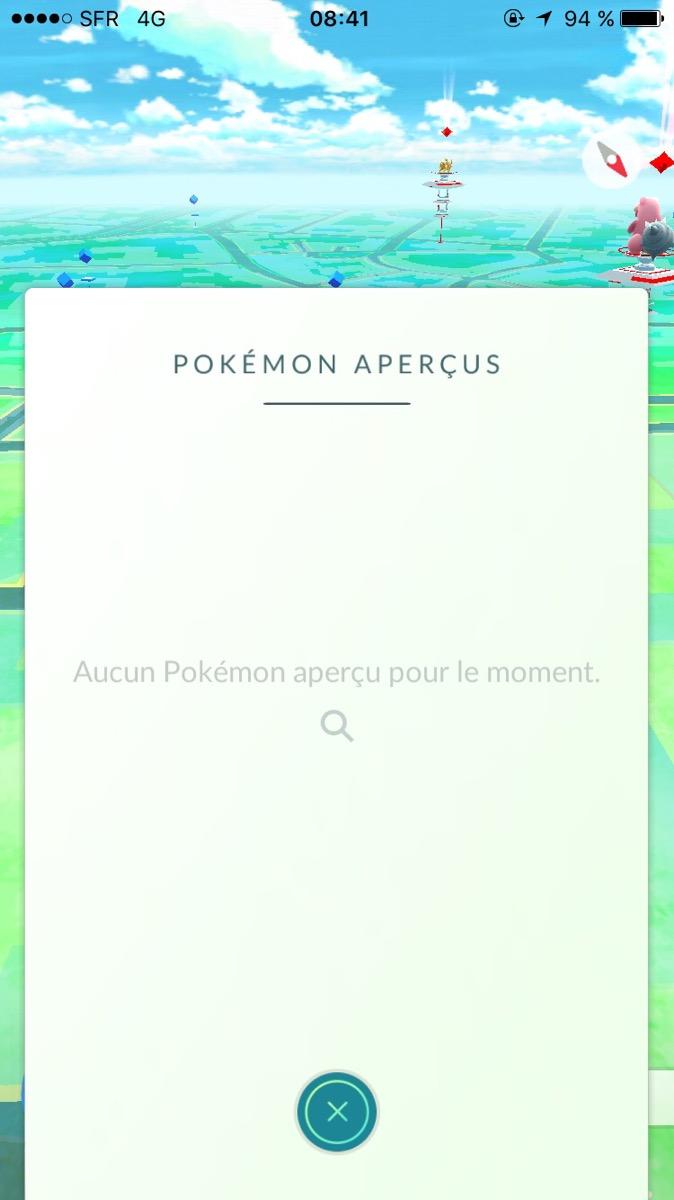 Onglet Pokémon aperçus