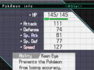 Statistique et nature d'un Pokémon
