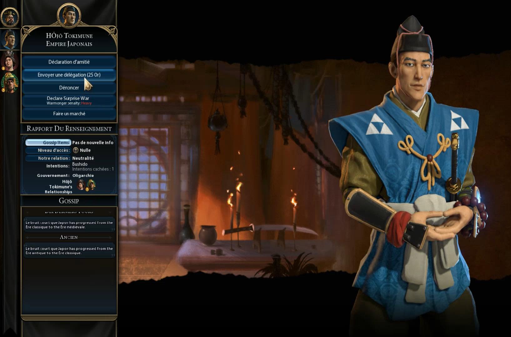 Civilization 6 : écran diplomatique