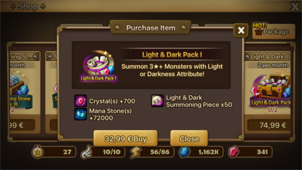 Pack light and dark vendu par Com2Us Summoners War