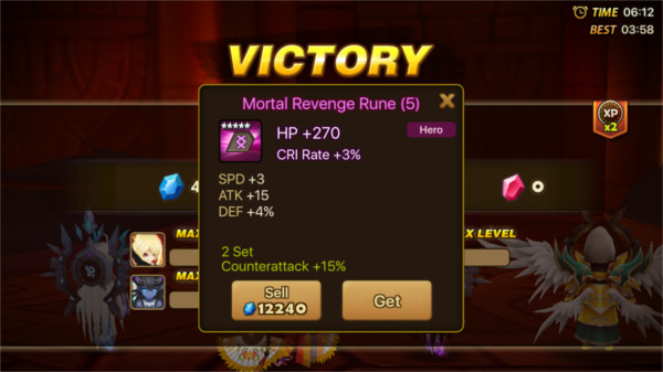 acquisition d'une rune sur Summoners War