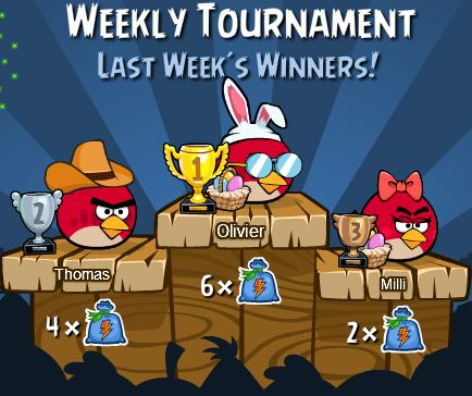 Angry birds weekly tournament