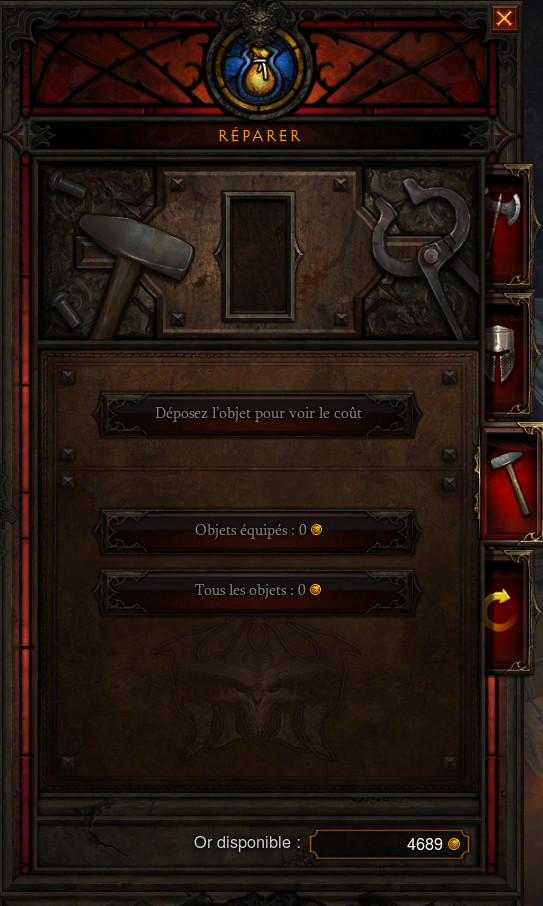L'interface de réparation