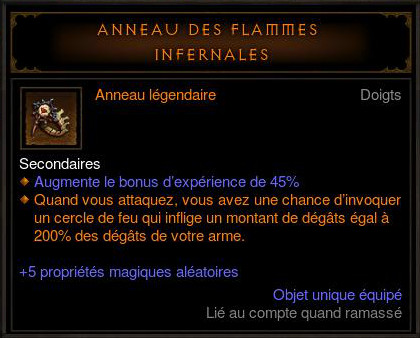 Diablo 3 Machine infernale et anneau des flammes infernales