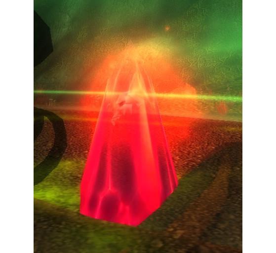 Enfermé dans un cristal rouge, le crâne de Gul'dan corrompt peu à peu Gangrebois (World of Warcraft, quête Le crâne de Gul'dan) - World of Warcraft