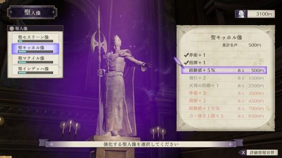 Fire Emblem Three houses : 4 statues des saints, dieux, bonus, points