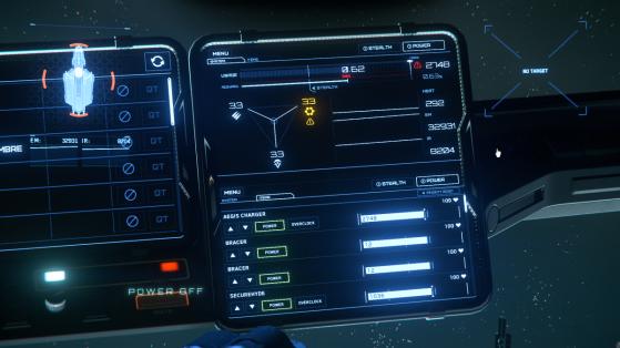 Onglet System (MFD-haut) et onglet Item (MFD-bas) du menu Power - Star Citizen