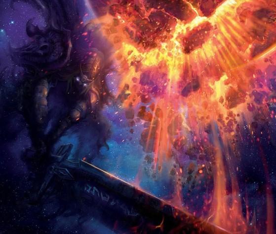 Sargeras détruit l'âme-monde corrompue (source : Chroniques, vol. I, p. 25) - World of Warcraft