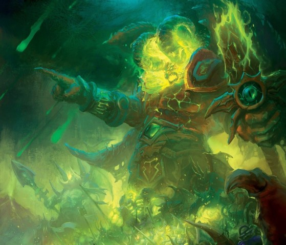 Sargeras à la tête de la Légion Ardente avec son épée brisée (source : Chroniques, vol. I, p. 53) - World of Warcraft