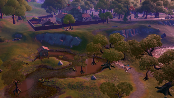 Fortnite : Trouver le nain de jardin caché entre la scierie Logjam, la cabane en bois et l'arbre