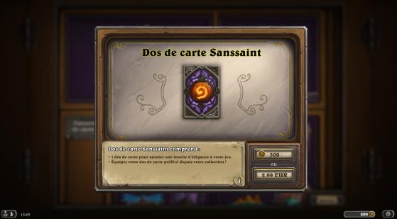 Hearthstone : Le Dos de carte Sanssaint est à nouveau disponible sur Hearthstone