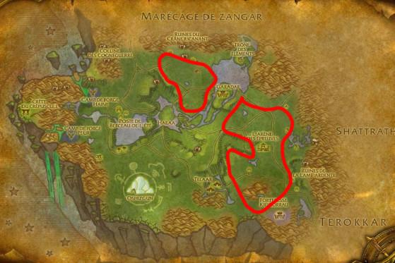 Localisations principales de Sabots-fourchus - Burning Crusade : Classic