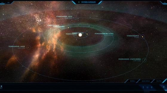 Yā'mon et ses astres dans la Starmap - Star Citizen