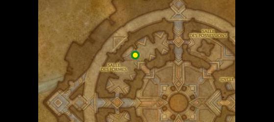 Emplacement du Forgeron Au'berk, maître des forgerons à Oribos ; vous pourrez aussi trouver près de lui une enclume, nécessaire pour la plupart des recettes - World of Warcraft