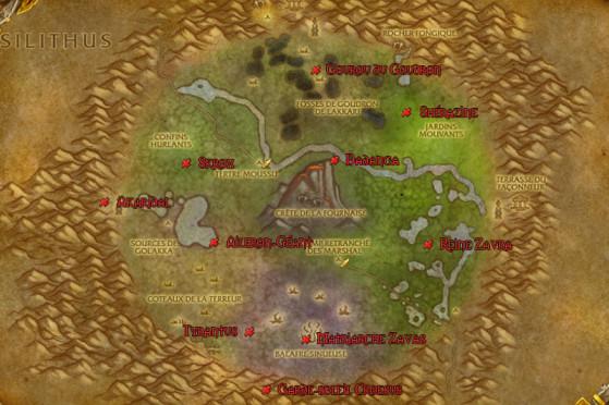 L'emplacement des monstres est indiqué sur votre carte par une croix rouge. Nous avons ajouté sur cette carte l'emplacement de chacun des monstres ci-dessous. - World of Warcraft