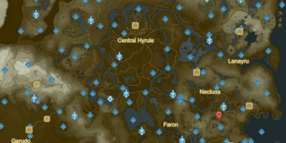 La Carte De Zelda Breath Of The Wild Avec Tous Les Sanctuaires