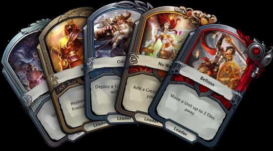 5 panthéons parmi les 7 présents dans le jeu représenté par leur leader respectif - Hearthstone