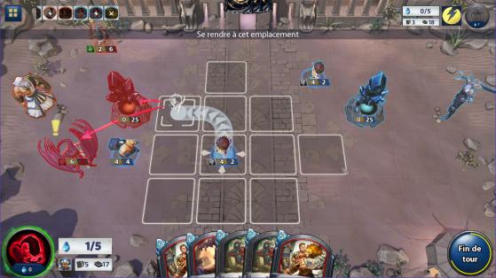 Interface du jeu avec le plateau qui permet d'apporter un aspect stratégique à ce jeu de cartes mettant en avant le positionnement et le déplacement des unités. - Hearthstone