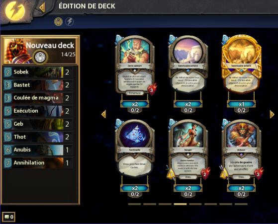 Interface de création de deck avec le nom du deck, le nombre et le nom des cartes déjà sélectionnées ainsi que votre collection pour finir de compléter le deck. - Hearthstone