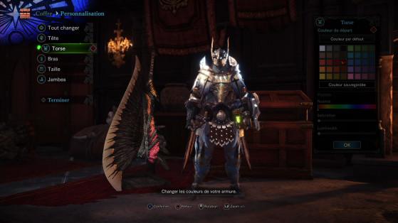 En plus de la personnalisation du personnage vous pourrez teindre un peu votre armure - Monster Hunter World