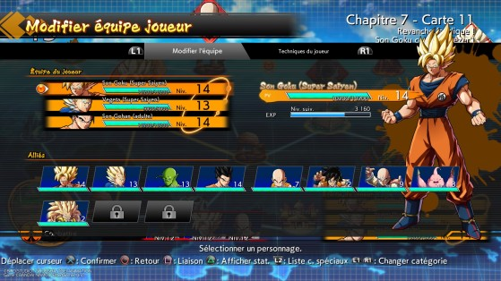 Menu de gestion des personnages - Dragon Ball FighterZ
