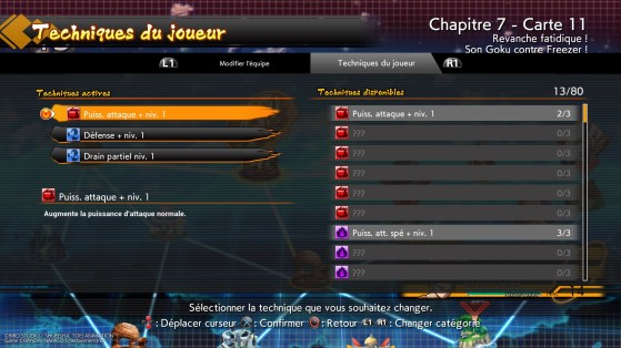 Menu de gestion des techniques - Dragon Ball FighterZ