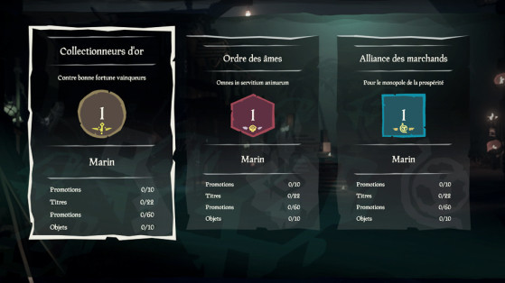Promotions, titres et objets - Sea of thieves