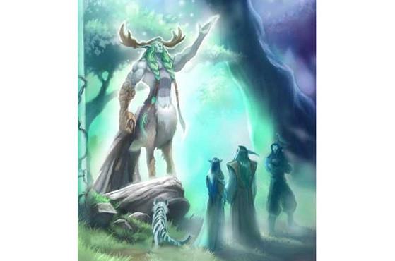 Cenarius enseigne à Malfurion, Tyrande et Illidan (artwork livre RPG Warcraft) - Hearthstone