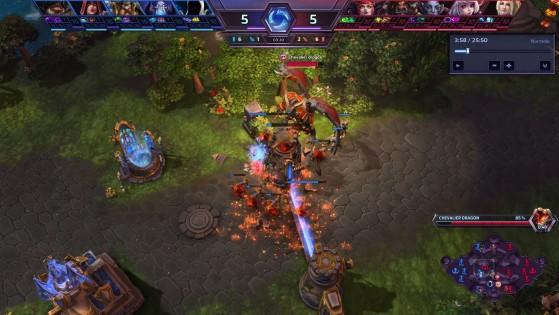 En se positionnant au-dessus de la tour nord, le Chevalier Dragon ne peut pas être la cible de la tour sud. - Heroes of the Storm