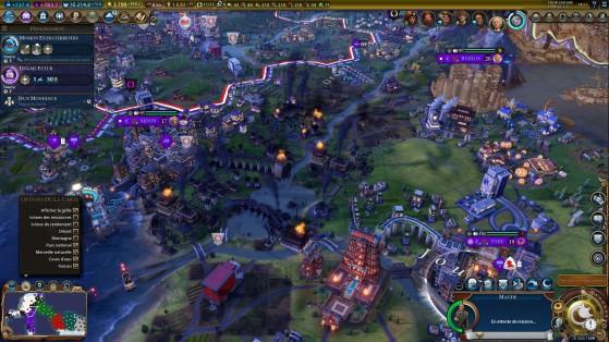 Le résultat après le sabotage d'un barrage. - Civilization 6