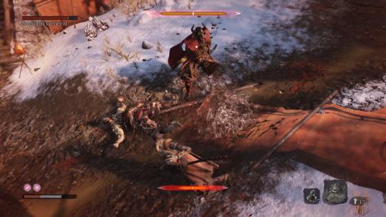 Veuillez remarquer les losanges qui signales les barres de vie du mini-boss, ainsi que les barres de posture. - Sekiro : Shadows Die Twice