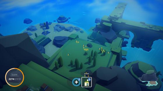 L'exploitation du terrain permettra de booster rapidement la barre d'expérience (à gauche) et la complétion de l'île (à droite). - Millenium