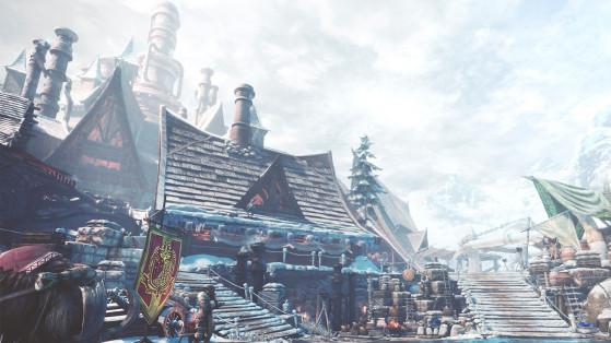Monster Hunter World Iceborne : Seliana, ville, base, neige, vaporium