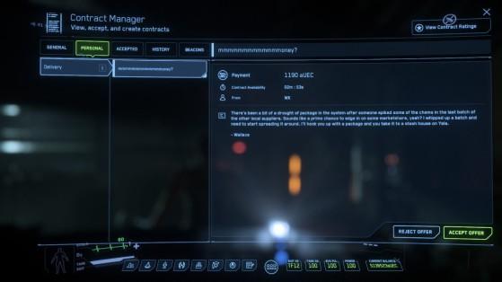 Mission de Wallace dans le MobiGlas - Star Citizen