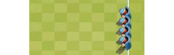 En early game, les Boucliers sont la clé, et devront être souvent disposés comme ici. - Rush Wars