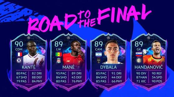 FUT 20 : Road to the Final, cartes évolutives RTTF de Ligue des Champions et Europa League
