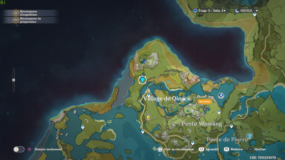 Où se trouve la cascade sur la carte - Genshin Impact