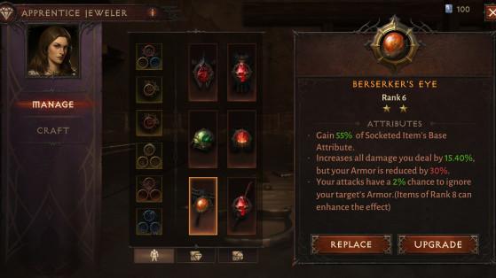 Joaillier Diablo Immortal : Amélioration, craft, gemmes & gemmes légendaires
