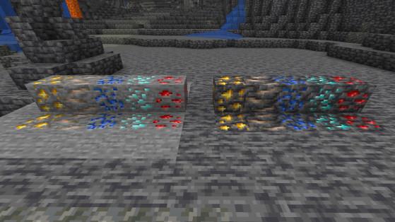 Minerais et variante deepslate - Minecraft