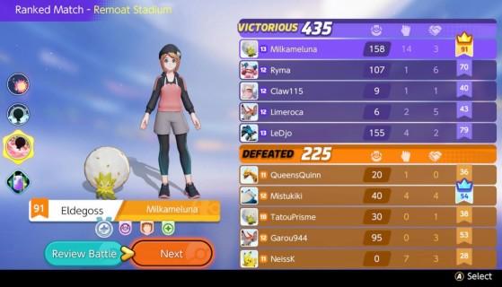 Le score de fin de partie avec le nombre de Kills, d'Assist et les MVP - Pokemon Unite