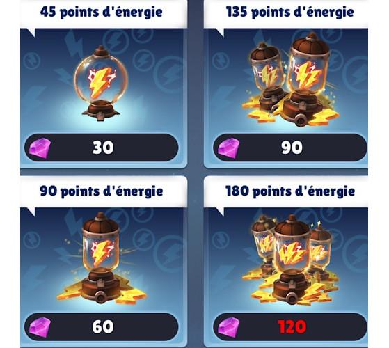 L'achat d'énergie : de très loin la meilleure manière de dépenser ses gemmes. - Skylanders Ring of Heroes
