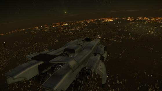 En approche d'Area18 - Star Citizen
